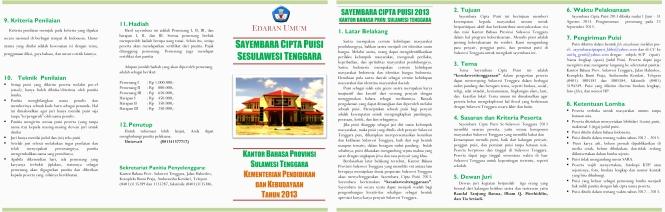 Sayembara Cipta Puisi Se-Sulawesi Tenggara 2013